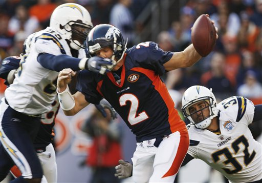 Denver Broncos quarterback Chris Simms sacked by San Diego Chargers' Kevin Burnett and Eric Weddle.