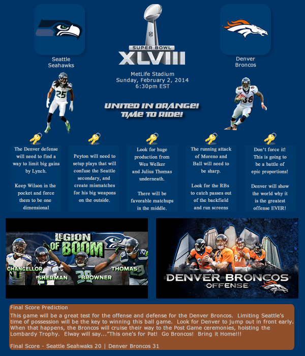Super Bowl Prediction Article: Seattle Seahawks vs. Denver Bron…
